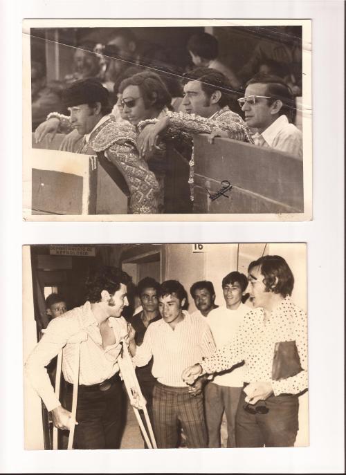 """En la primera foto Manolo Martinez y su apoderado Jorge Cuesta. En la segunda foto dos idiolos de Mexico, Manolo y """"El Puas"""" Olivares."""
