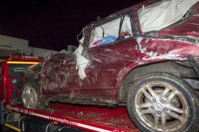 Este es el estado en el que quedó su coche tras salirse de la carretera: