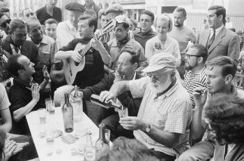 Plaza del Castillo - Jul 1959 Hemingway's last visit to Pamplona.