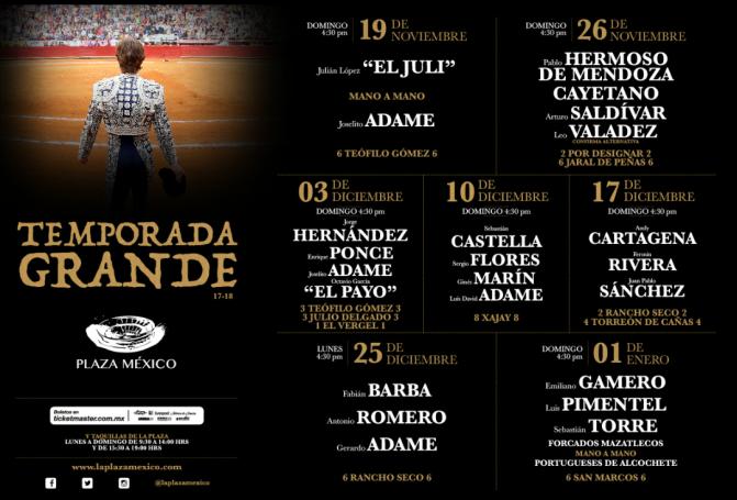 PLAZA MÉXICO: Temporada Grande 2017-2018 – CARTELES – La Temporada del Atraso.