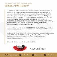 """Plaza México: Confirman """"Corrida por México"""" y reaparición de José Tomás"""