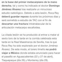 Roca Rey no podrá torear en Aguascalientes, Monterrey y Tlaquepaque por lesión
