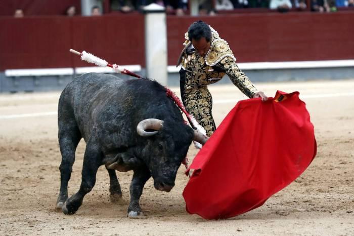 El diestro colombiano Luis Bolívar da un pase a su primer toro. MARISCAL EFE