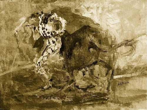 Pintar temas taurinos es como torear: si no creas magia no vale mucho o trasciende poco lo que hagas, sostiene el artista de Saltillo.Foto Ilustración Antonio.