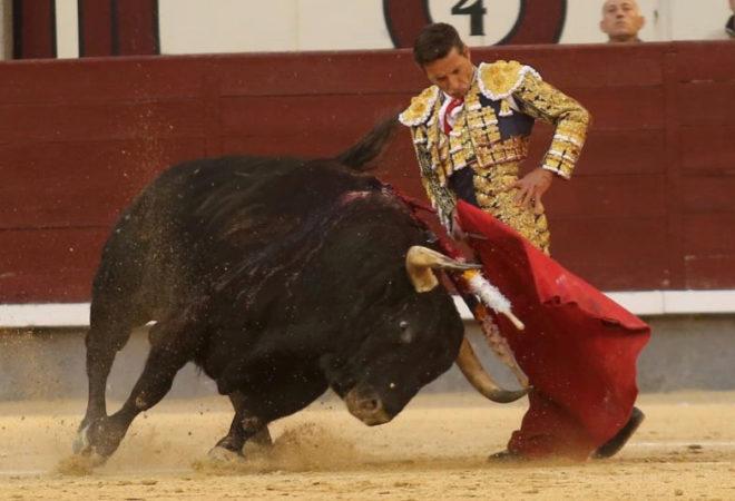Monumental trinchezaro de Diego Urdiales al cuarto toro de la la corrida de Fuente Ymbro. Foto de ANTONIO HEREDIA.