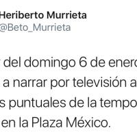 Regresa Heriberto Murrieta a las transmisiones desde la Plaza México