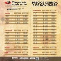 PLAZA MÉXICO: LISTA DE PRECIOS PARA LA TEMPORADA GRANDE 2019 – 2020 – DE SOL Y SOMBRA.