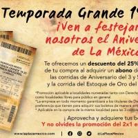 Festeja el aniversario de la PLAZA MÉXICO en grande con un DESCUENTO del 25%