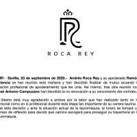 Roca Rey rompe con José Antonio Campuzano y Ramón Valencia.
