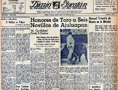 """Inobjetable el título del Diario a la reseña de la presentación de Manuel Benítez """"El Cordobés"""" en la Plaza Mérida el 19 de enero de 1964."""
