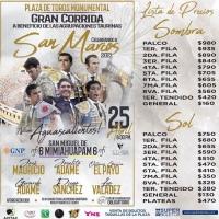 Lista de Precios para la Gran Corrida del 25 de Abril en Aguascalientes.